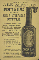 Advert For Ale & Stout In Barrett & Eler's Bottles